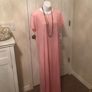 LulaRoe Maria pink and white polka dot maxi dress